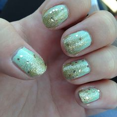 My take on seafoam with gold sparkles! #nails #seafoam #green #gold #sparkle