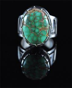 Handmade ring, with natural gem grade Australian Variscite, by Cochiti Pueblo artist Tim Herrera.