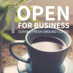 Image cup smooth white coffee, serving fresh ground coffee open for business Fresh Ground Coffee, White Coffee, Grand Opening, Smooth, Templates, Mugs, Business, Opening Day, Mug