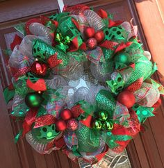 Deco Mesh Christmas Wreath in Silver, Emerald green red Traditional Christmas Wreath, Holiday Wreath Holiday Decor