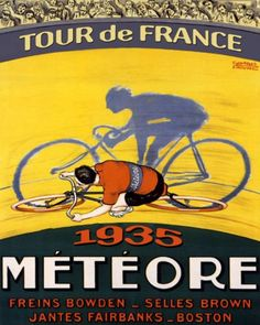 "1935 Bicycle Bike Cycles Race Tour de France Meteore Boston Paris Vintage Poster Repro 16"" X 20"" Standard Image Size for Framing on MATTE PAPER. We Have Other Sizes Available. PLEASE UNDERSTAND, Heritage Posters Is Not Affiliated with other sellers Printing directly from the Tiny Images from Our listing page. Choosing Heritage Posters guarantees your order is Made in and Shipped from the USA. 16"" X 20"" Image Size Giclee on High Quality CANVAS and there is extra canvas around the Image for..."