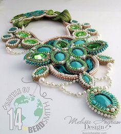 Created for the Battle of the Beadsmith 2014 contest.  Vintage Swarovski stones, Soutache silk ribbon, Swarovski crystal pearls, bicones & 2.5mm rounds.  Miyuki seed beads, RIzo beads and Chech seed beads. Copyright 2014 Melissa Ingram
