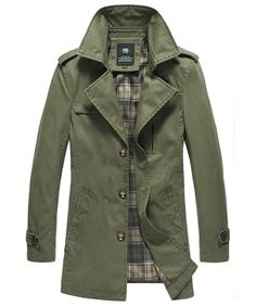 Army Green Lapel Single-Breasted Cotton Polyester Slim Mens Trench Coats