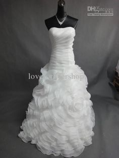 Wholesale Strapless Flower Ruffles Dropped Waist Organza Court 2012 Sexy Beach Wedding Dresses Bridal Gowns, $167.0/Piece | DHgate