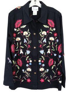 Quacker Factory Floral Embroidered Beaded Denim Jacket Women's L Large EUC #QuackerFactory #JeanJacket