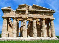 Il Tempio detto di Nettuno; metà del V sec. a.C. Paestum-Salerno-Campania-IT. Tempio perìptero ed esàstilo (6 colonne sulle fronti e 14 sui lati).