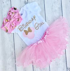pink and gold minnie mouse birthday outfit!   All writing on the shirt is made with a Vinyl and professionally pressed for the best quality.