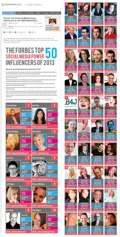 #Forbes Top 50 Social Media Power Influencers of 2013 [INFOGRAPHIC] by @Steven Trotter Sefton via @Calvin Ruthven Lee
