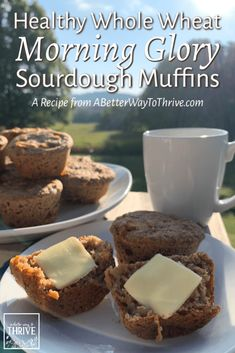 Try these Healthy Whole Wheat Morning Glory Sourdough Muffins for a delicious, convenient, and nourishing breakfast or snack! Sourdough Muffin Recipe, Sourdough Starter Discard Recipe, Sourdough Recipes, Bread Recipes, Gourmet Recipes, Real Food Recipes, Baking Recipes, Croissants, Scones