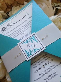 Turquoise diamanté triangle fold invite #www.louisekellydesigns.com