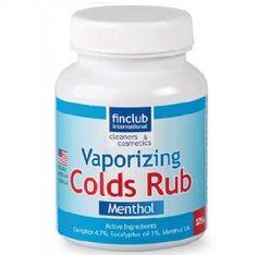 Vaporizing Colds Rub pro inhalaci i úlevu horních cest dýchacích Mast je výborným podpůrným prostředkem při léčbě všech respiračních onemocnění, především horních cest dýchacích - rýmou a kašlem. Obsahuje účinné éterické látky (eukalyptový olej, mentol a kafr), které se při styku s teplou kůží nebo při inhalaci v horké vodě z masti uvolňují.