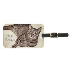 "Bon Voyage"" Elegant Tabby Cat Luggage Tag Custom Luggage Tags, Personalized Tags, Standard Business Card Size, Typography Prints, Pet Gifts, Cats And Kittens, Diy, Elegant, Pets"