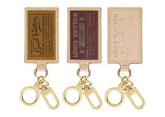 Louis Vuitton key rings inspired by the hotel and cruise ship luggage stickers collected by Gaston-Louis Vuitton. In the colors Rusty, Burgundy and Monogram, each have silk-screen leather tags with LV logo and store addresses. $200