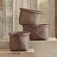 baskets are a great way to hide stuff. cross dye baskets from west elm.