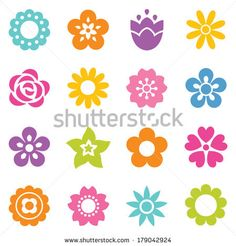 Set of flat icon flower icons in silhouette. Cute retro design in bright colors for stickers, labels, tags, gift wrapping paper. by daisybee...