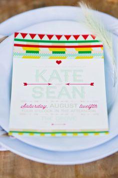 bright wedding invitations // photo by Keidra LeJeuene, stationery by Touies Design // http://ruffledblog.com/earthy-oklahoma-wedding-inspiration/