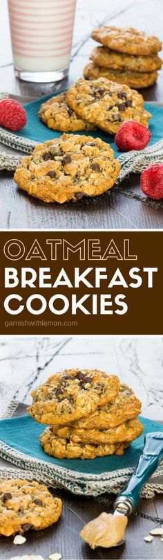Filled with protein and still tastes delicious! The Oatmeal Breakfast Cookie is the answer to your breakfast woes! ~ http://www.garnishwithlemon.com