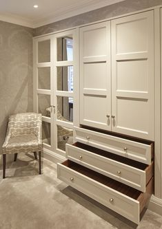 Explore our extensive range of interiors for Bespoke Wardrobes in Surrey & Essex. We create High-End Bespoke Wardrobes in Cheshire & London. Bedroom Built In Wardrobe, Bedroom Built Ins, Wardrobe Room, Bedroom Closet Design, Master Bedroom Closet, Closet Designs, Home Room Design, Home Bedroom, Bedroom Decor