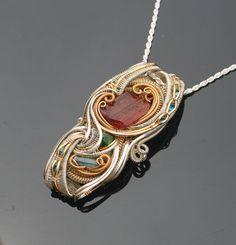 handmade heady wire wrap jewelry/ silver and gold/ Rubellite tourmaline, chrome diopside, Aquamarine heady wire wrap/ grateful dead phish