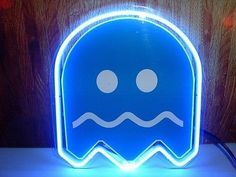 10 x10 pacman blue ghost beer bar pub neon light sign s06 4 80s