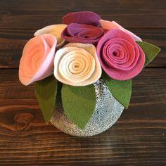 Felt Flowers on Stems with Leaves Felt Flower Bouquet Baby