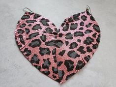 Pink leopard earrings leopard print leather earrings big | Etsy