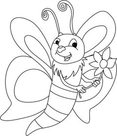 Bumblebee, : A Beautiful Bumblebee with Spray of Flower Coloring Page Online Coloring Pages, Flower Coloring Pages, Coloring Book Pages, Coloring Pages For Kids, Adult Coloring, Colouring, Poster Drawing, Retro Cartoons, Kids Story Books