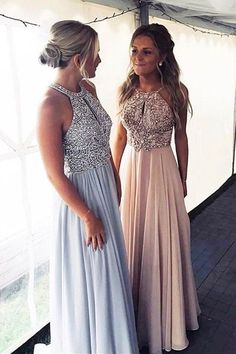 Gorgeous A Line Round Neck Light Blue  Brush Beaded Long Prom Dresses 1462add45606