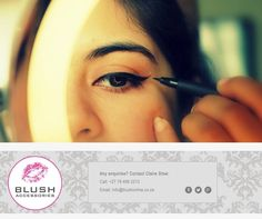 Look down when you apply liquid eyeliner. Start at the inner corner and make sure to go all the way out to the fold on the outside of the eye to achieve the perfect cat eye look. #Blush #makeup #tip