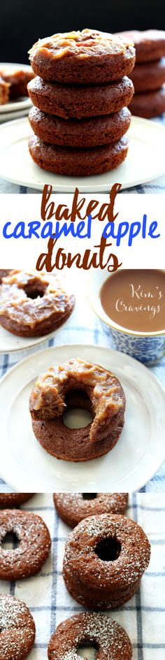 """Tender baked donuts bursting with warm caramel apple flavor and topped off with a glaze made with all """"real"""" ingredients. Just over 100 calories per donut!"""