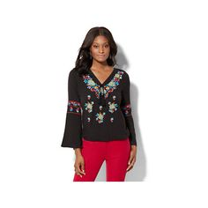 7th Avenue Embroidered Peasant Blouse ($28) ❤ liked on Polyvore featuring tops, blouses, black, boho blouse, bell sleeve tops, boho tops, peasant blouse and tie blouse
