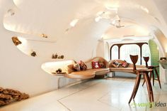 """""""Frodo meets Gaudi"""" is how one commenter describes the curvaceous interior of Mumbai's Organic House, an apartment by Mumbai-based design studio The White Room, which has ceilings as arched as and s. Mumbai, My Living Room, Living Spaces, Taj Mahal, Futuristisches Design, Design Ideas, Elderly Home, Apartment Interior Design, White Rooms"""