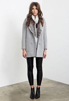 57.90 - Mélange Boyfriend Coat | FOREVER21 - 2000137435