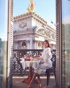 Follow me on Instagram @ofleatherandlace | Hotel room view of opera house Paris, Palais Garnier, Paris France, breakfast goals, wanderlust, travel inspiration, travel photography