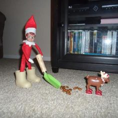 Elf on the Shelf and his magical mischief, #42 reindeer poop scooper, #36 is melting snowman with hair dryer,