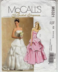 Superb Wedding Bridal Bridesmaid Draped Effect Strapless McCalls Pattern Sz