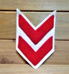 Vintage 1950s Varsity Letterman Patch, Chenille Embroidered, CHEVRON PATCH, Jacket Patch, Red on White, Wool Backing, Large 4.25 X 3 by HouseofOHvintage on Etsy