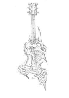 """""""Higher Resolution Skull Guitar Tattoo By Gaaradeviant"""" Death by guitar? Sometimes I feel like in the end it will be me and a guitar. some people have met their end at he hands of music, fame, and their guitar Guitar Tattoo Design, Music Tattoo Designs, Tattoo Design Drawings, Skull Tattoo Design, Music Tattoos, Skull Tattoos, Guitar Drawing, Guitar Art, Guitar Sketch"""