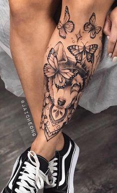 Girl Leg Tattoos, Butterfly Tattoos For Women, Girls With Sleeve Tattoos, Dope Tattoos, Upper Leg Tattoos, Wolf Tattoos For Women, Chest Tattoos For Women, Wolf Tattoo Design, Tattoo Designs