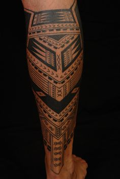 samoan tattoo downward right leg calf