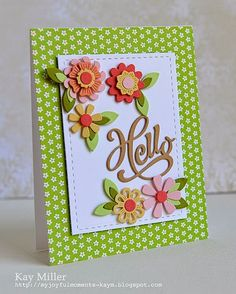 Stitched Panel - Lil Inkers Plain flowers- My Favorite Things Detailed Flowers - Papertrey Ink Leaves- Memory Box Hello- Serendipity Stamps