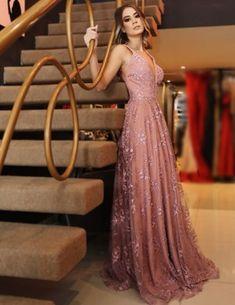 A-line V-neck Pink Lace Evening Dresses ,Cheap Prom Dresses A-line V-neck Pink Lace Evening Dresses ,Cheap Prom Dresses Sexy Evening Dress, Lace Evening Dresses, Elegant Dresses, Pretty Dresses, Beautiful Dresses, Formal Dresses, Long Dresses, Lace Dress, Backless Prom Dresses