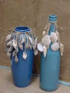 maritime deco shells shells blue vases