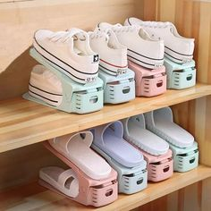 Creative Storage that makes your shoes easy to findYou can find Shoes organizer and more on our website.Creative Storage that makes your shoes easy to find Closet Shoe Storage, Diy Shoe Rack, Closet Shelves, Bedroom Storage, Bedroom Decor, Shoe Racks, Shoe Closet Organization, Shoe Rack For Small Closet, Diy Shoe Organizer