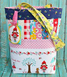 Little Red Patchwork Tote -- Tasha Noel fabrics by Lemon Tree Studio