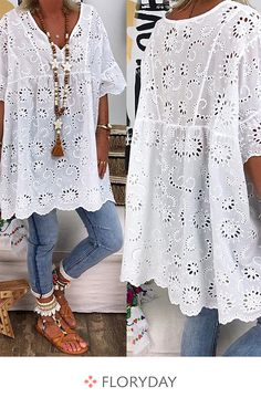 Plus Size Solid Casual V-Neckline Sleeves Blouses - White L - Herren- und Damenmode - Kleidung Plus Size Blouses, Plus Size Dresses, Boho Fashion, Fashion Dresses, Womens Fashion, Dresses Dresses, Fashion Blouses, Vetement Hippie Chic, Cool Outfits