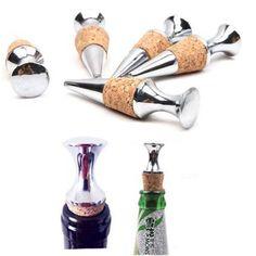 Silver Zinc Alloy Glyptostrobus Cork Wine Bottle Stopper  bar kitchen