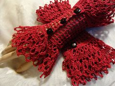 Scarlet Red Fine Crochet Gothic Vampire Steampunk Victorian Noir Mourning Halloween Cotton Wrist Cuffs Thank you Marianna for introducing me to Steampunk, who knew it would even cross into my crochet? Crochet Mittens, Crochet Gloves, Cotton Crochet, Thread Crochet, Knit Crochet, Crochet Wrist Warmers, Crochet Wedding, Crochet Bracelet, Crochet Accessories
