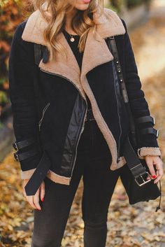 Shearling Jacke & Herbstlaub - New Site Winter Fashion Casual, Fall Winter Outfits, Autumn Winter Fashion, Winter Clothes, Winter Wear, Winter Style, 2016 Winter, Winter Dresses, Autumn Style