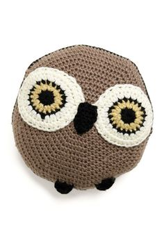 Whether this adorable owl pillow is perched on your bed, couch, or beside the bay window, it's sure to steal your heart with every squeeze! Hand-crocheted with a circular silhouette, this accent pillow features an all-black back and light brown face adorned with wise wide eyes, a pointed beak, and petite feet. Just fly around your nest until you find the perfect spot, and this plush pet will ensure every movie marathon or afternoon of reading is a comfy, cuddle-worthy affair.